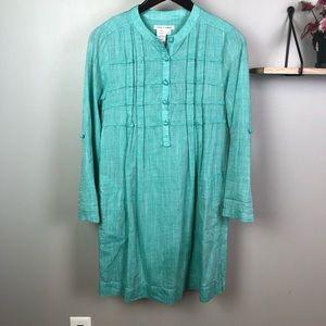 Atelier Max Stitch Fix Shirt Dress Turquoise Small